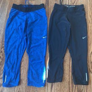 Women's Nike capris workout pants two pair SM/XS